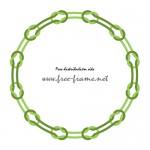 2つの緑色の紐が本結びで繋がれた円形フレーム・枠