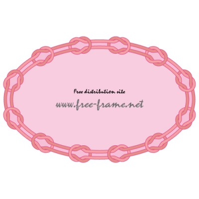 ピンク色の紐が本結びで繋がれた楕円形オーバルフレーム・枠