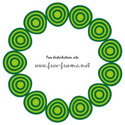 緑色の円形フレーム・枠・素材