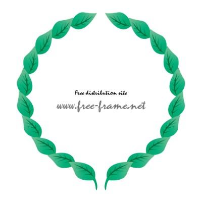 緑の葉っぱのイラストが並ぶ円形フレーム・枠