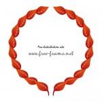 赤い葉っぱのイラストが並ぶ円形フレーム・枠