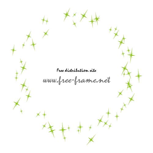 緑色のキラキラのイラスト円形フレーム・枠