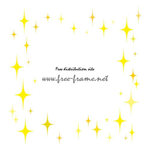 黄色に輝くキラキラのイラスト四角形フレーム・枠