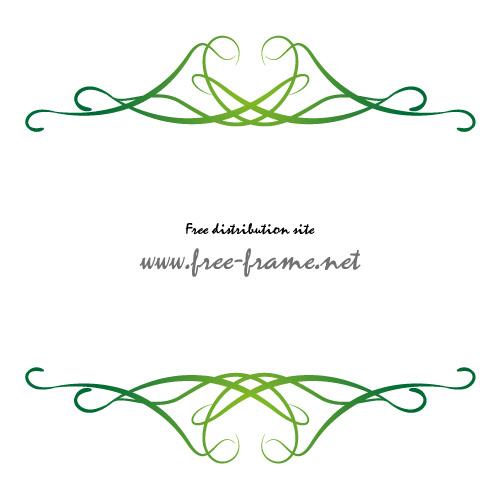 軽やかなラインが重なる緑色の上下フレーム・枠