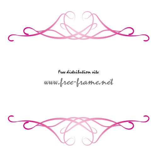 軽やかなラインの重なるピンク色の上下フレーム・枠