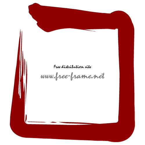 赤色の毛筆の四角フレーム・枠