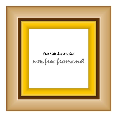 薄めの茶色の木製正方形額縁イラスト、フレーム・枠