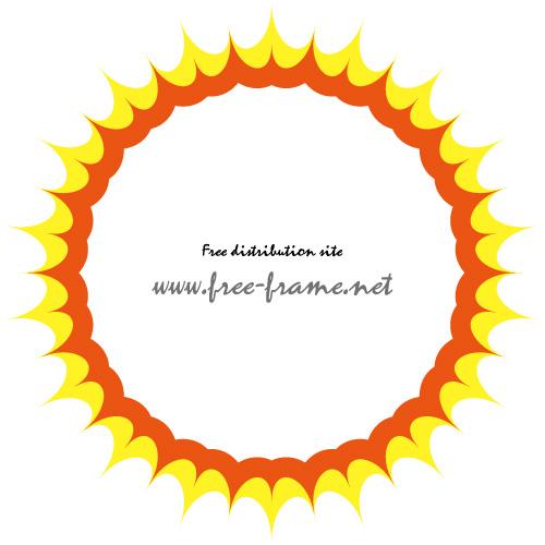 太陽のようなギラギラしたイラストフレーム・枠