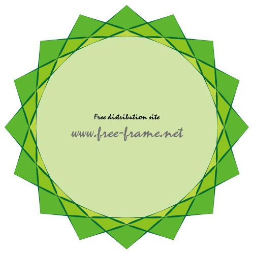 様々な緑の三角が重なりあうフレーム・枠