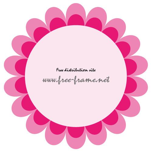 ピンク色の花のような円形フレーム・枠
