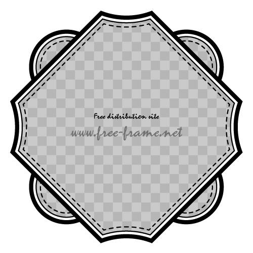 円と四角を組み合わせた黒色のラベルフレーム