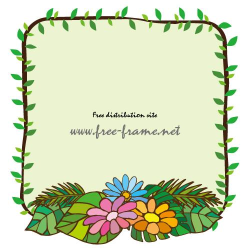南国の草花イラストが入ったスクェアフレーム 無料 商用可能 枠 フレーム素材配布サイト