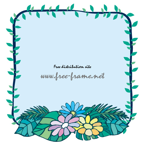 ブルー基調の南国の草花イラスト四角フレーム・枠