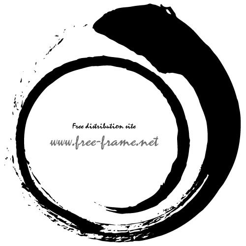 渦を巻いた円形の黒い毛筆フレーム・枠