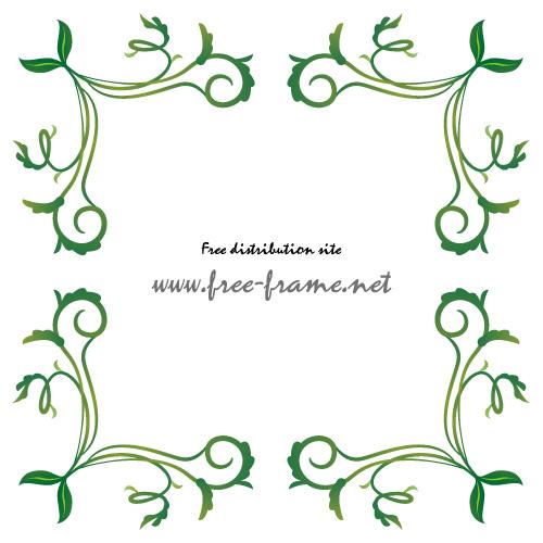 ナチュラルな植物のイラストの四隅フレーム・枠
