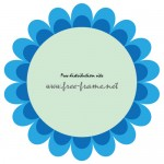 青い花のような円形フレーム・枠
