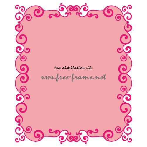 ピンク色の蔦のイラスト・長方形フレーム・枠
