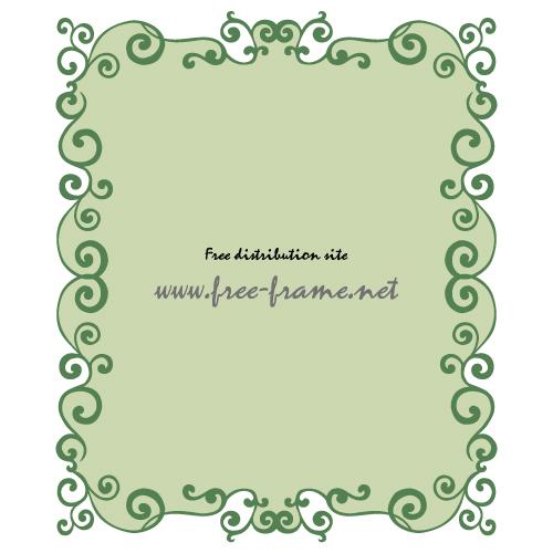 緑色の蔦のイラスト・長方形フレーム・枠