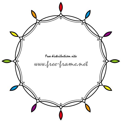虹色のようなシンプルな円形フレーム・枠