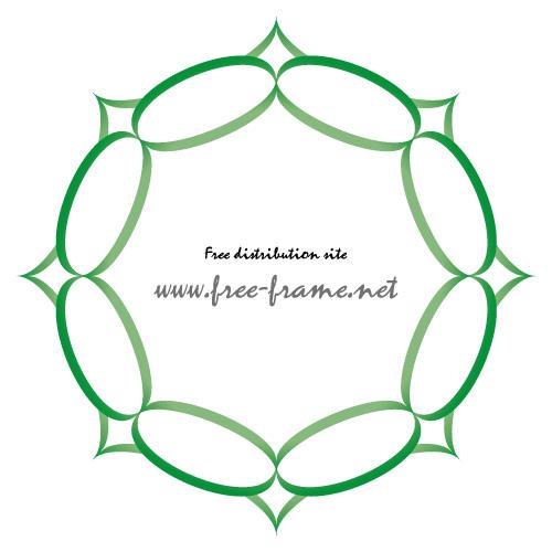 ちょっと棘のある緑色の円形フレーム・枠