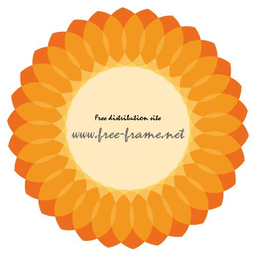 大きな花のようなオレンジ色の円形フレーム・枠