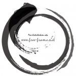 荒々しい毛筆の円形フレーム・枠