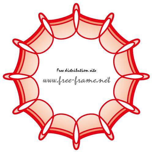 パッと広がったような赤色の円形フレーム・枠