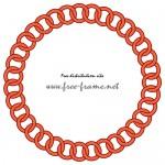 赤いチェーンの円形フレーム・枠