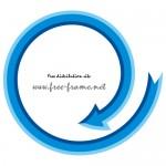 青い矢印の円形フレーム・枠