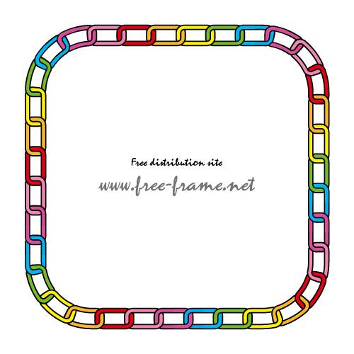 レインボーカラーの鎖が連なる四角形フレーム・枠
