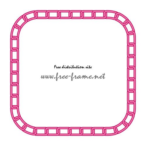 ピンク色の鎖が連なる四角形フレーム・枠