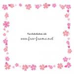 ピンクの桜のイラストの四角フレーム・枠