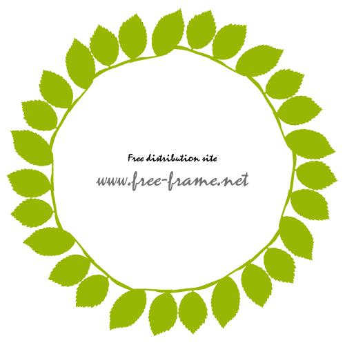 葉っぱが並ぶ円形フレーム・枠