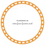オレンジ色の鎖が連なる円形フレーム・枠