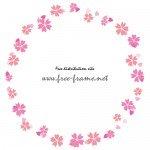 ピンクの桜のイラストの円形フレーム・枠