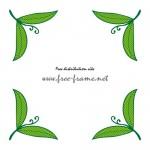 緑色の葉っぱのイラストのコーナーフレーム・枠