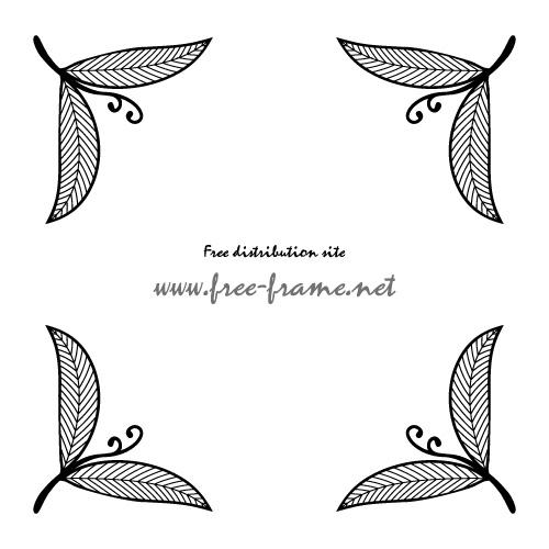 モノクロの葉っぱのイラストのコーナーフレーム・枠