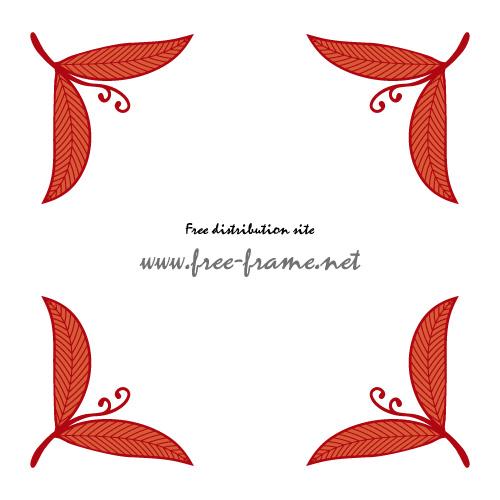赤い葉っぱのイラストのコーナーフレーム・枠