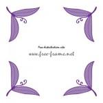 紫色の葉っぱのイラストのコーナーフレーム・枠