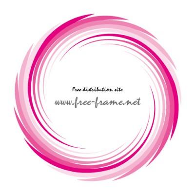 ピンク色の渦状の円形フレーム・枠