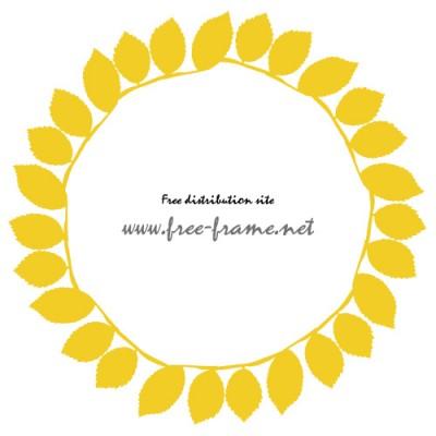 黄色の葉っぱが並ぶ円形フレーム・枠