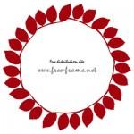 紅色の葉っぱが並ぶ円形フレーム・枠