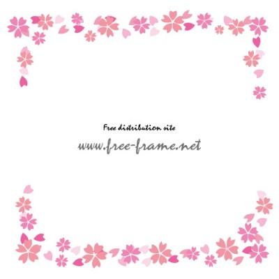 ピンクの桜のイラストの上下フレーム・枠