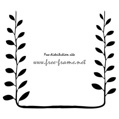 黒色の植物イラストフレーム・枠