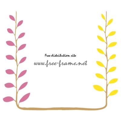 パステルカラーの植物イラストフレーム・枠