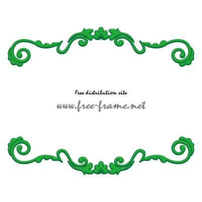 緑色のクラシカルなモチーフの上下フレーム・枠
