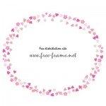 ピンクの桜のイラストのオーバル・楕円フレーム・枠