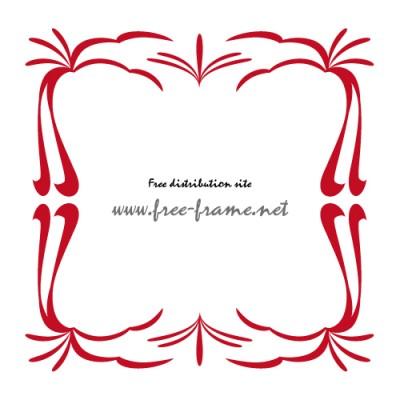 赤い和的な四角フレーム・枠