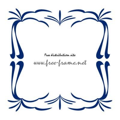 紺色の和的な四角フレーム・枠