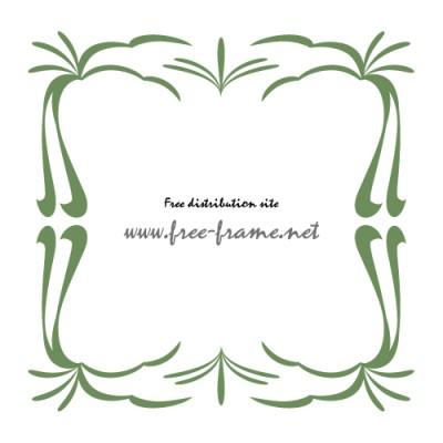 緑色の和的な四角フレーム・枠